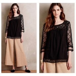 ANTHRO / MEADOW RUE Mantra Lace Top Black Eyelet M